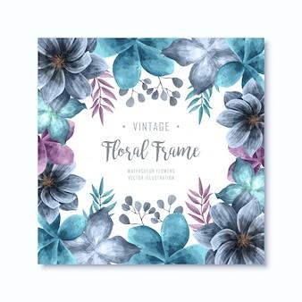 Elegant watercolor blue floral flowers frame background
