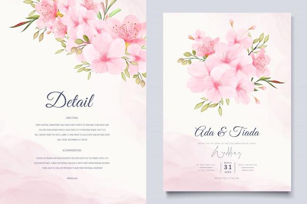 Elegant watercolor cherry blossom card template