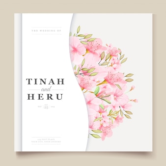 Elegant watercolor cherry blossom card template
