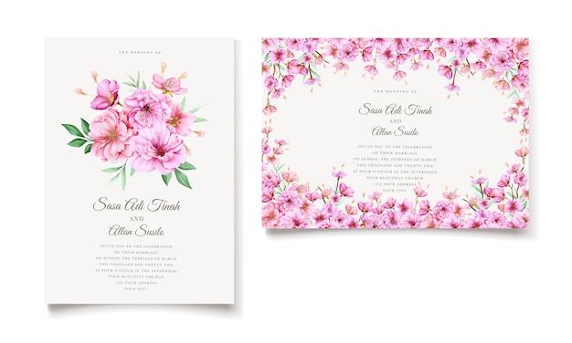 Elegant watercolor cherry blossom invitation card template
