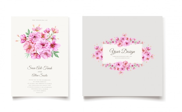 Elegant watercolor cherry blossom invitation card template