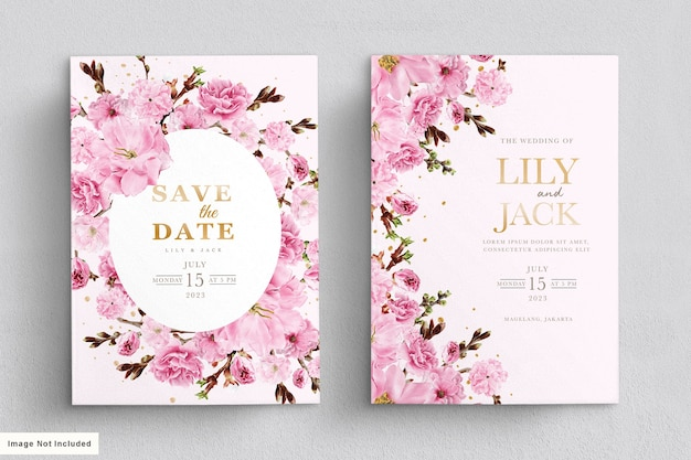 Elegant watercolor cherry blossom wedding invitation card set