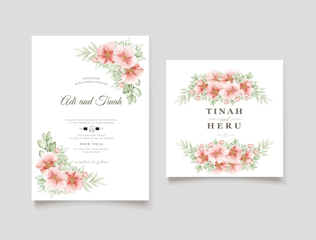Elegant watercolor dog rose flowers wedding invitation card
