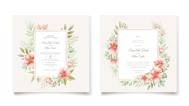 エレガントな水彩犬のバラの花の結婚式の招待カード