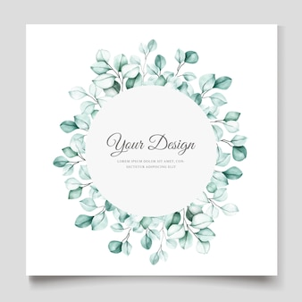Elegant watercolor eucalyptus invitation card template