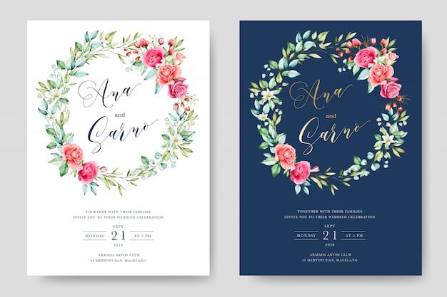 우아한 수채화 꽃과 나뭇잎 웨딩 카드 termplate