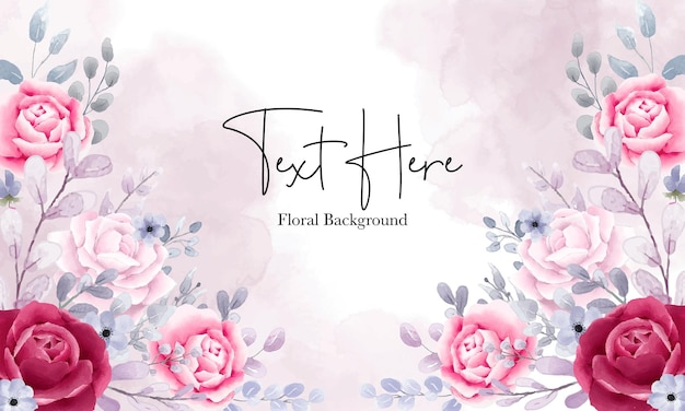 Elegant watercolor floral background with beautiful floral ornaments