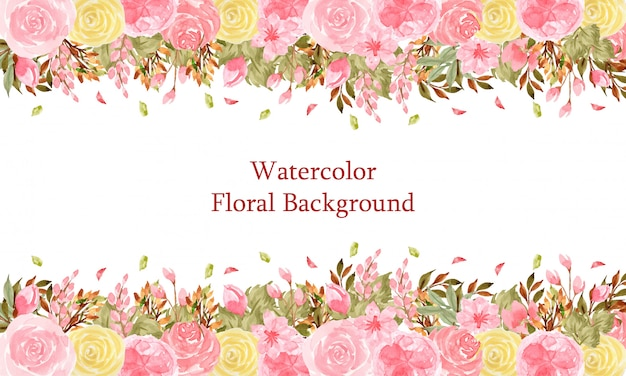 Elegant watercolor floral background with gorgeous pink and yellow flowers