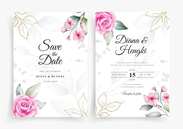 결혼식 초대 카드 템플릿에 우아한 수채화 꽃 장식