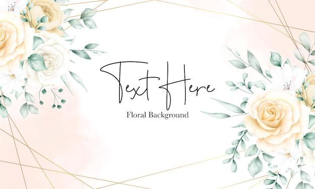 エレガントな水彩花フレーム背景テンプレート