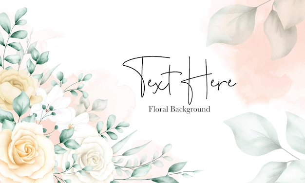 Elegant watercolor floral frame background template