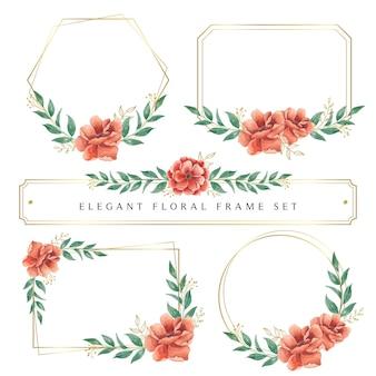 Elegant watercolor floral frame set