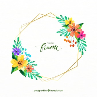 Elegant watercolor floral frame with golden lines