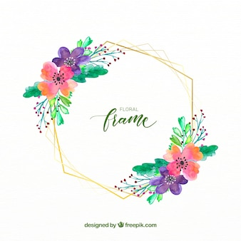 Elegant watercolor floral frame with golden lines
