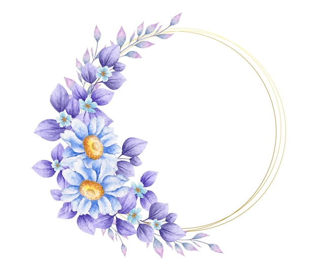 보라색 잎 우아한 수채화 꽃 프레임