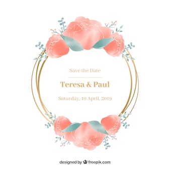 Elegant watercolor floral frame