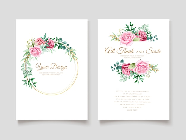 Elegant watercolor floral invitation card template