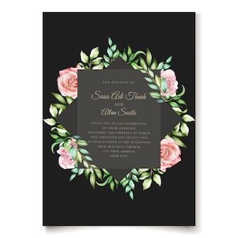 우아한 수채화 꽃 초대 카드 템플릿