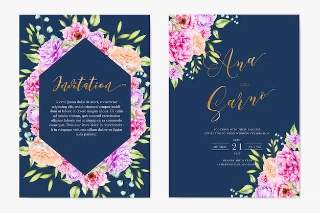 Elegant watercolor floral and leaves wedding card termplate