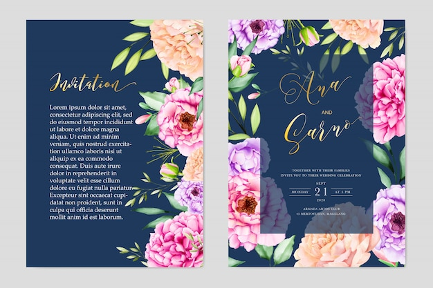 Elegant watercolor floral and leaves wedding card termplate