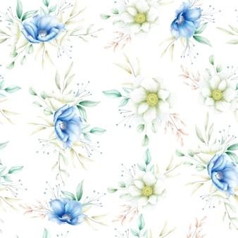 エレガントな水彩花柄シームレスパターン
