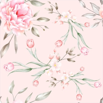 우아한 수채화 꽃 원활한 패턴