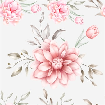 Элегантный акварельный цветочный бесшовный образец