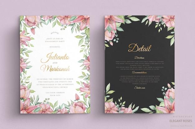 우아한 수채화 꽃 웨딩 카드