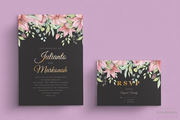 Элегантная акварель цветочная свадебная открытка