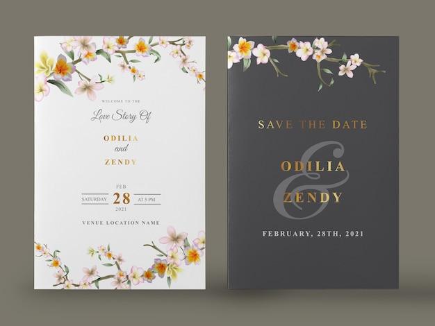 Elegant watercolor floral wedding invitation card set