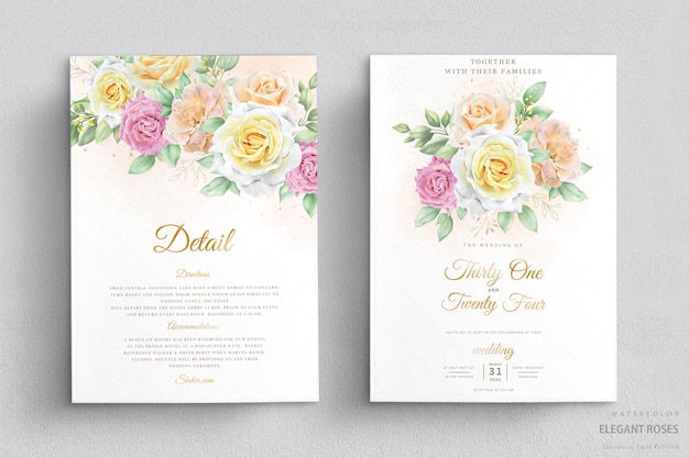 Elegant watercolor floral wedding invitation card set