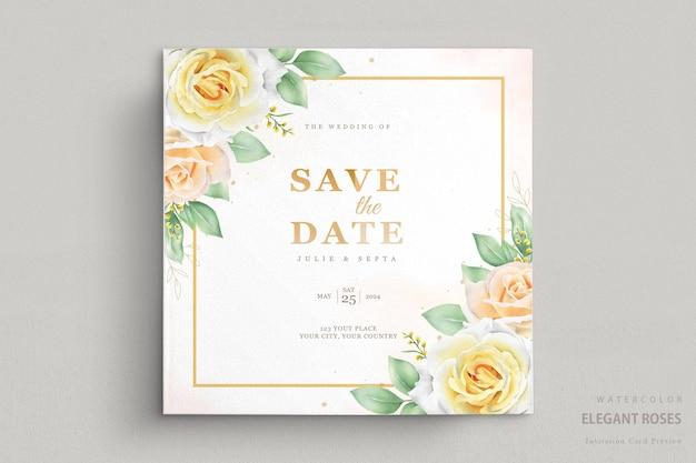 우아한 수채화 꽃 결혼식 초대 카드 세트