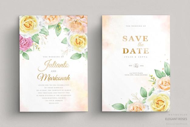 Set di carte invito matrimonio floreale acquerello elegante