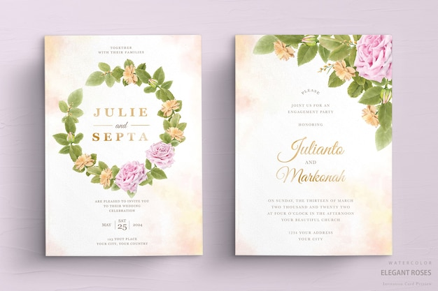 Set di carte invito matrimonio floreale acquerello elegante