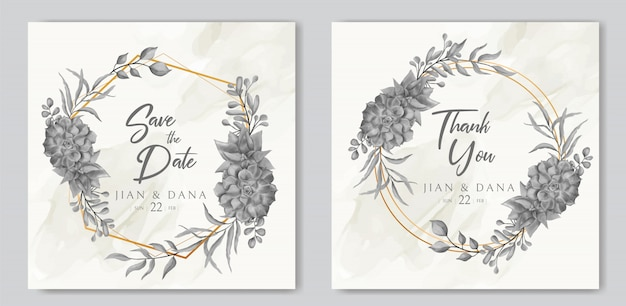 골든 프레임 우아한 수채화 꽃 결혼식 초대 카드 템플릿