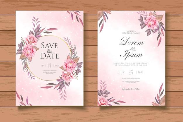 Elegant watercolor floral wedding invitation card