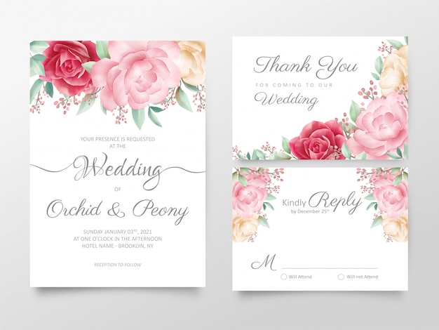 Elegant watercolor floral wedding invitation cards template set