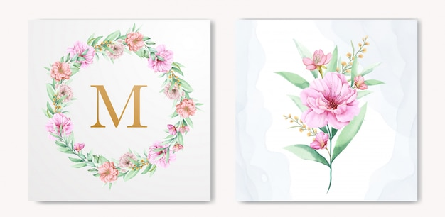 Elegant watercolor floral wedding invitation design