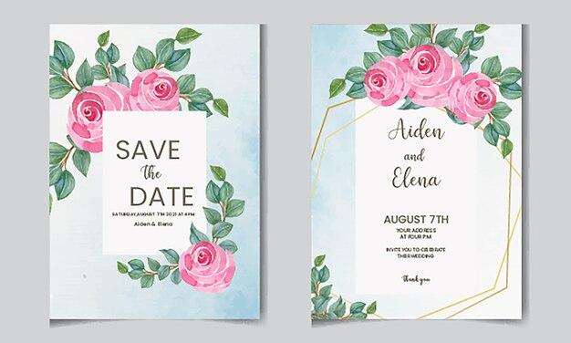 Элегантное акварельное цветочное свадебное приглашение