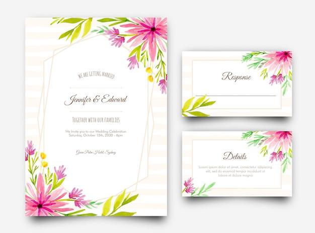 エレガントな水彩画の花柄の招待状