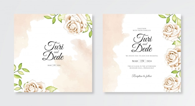 결혼식 초대장 템플릿 우아한 수채화 꽃과 스플래시