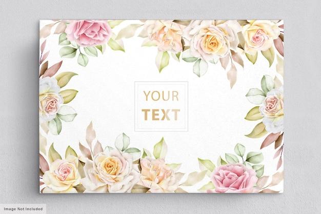 Элегантные акварельные цветы с красивыми листьями пригласительный билет