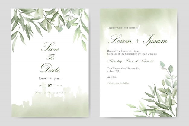Elegant watercolor foliage wedding invitation template card