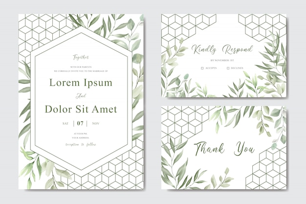 Elegant watercolor foliage wedding invitation template card