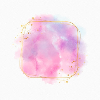 Elegant watercolor golden frame