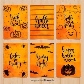 Elegant watercolor halloween card collection