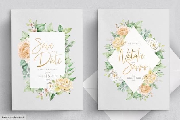 우아한 수채화 손으로 그린 꽃 결혼식 초대 카드