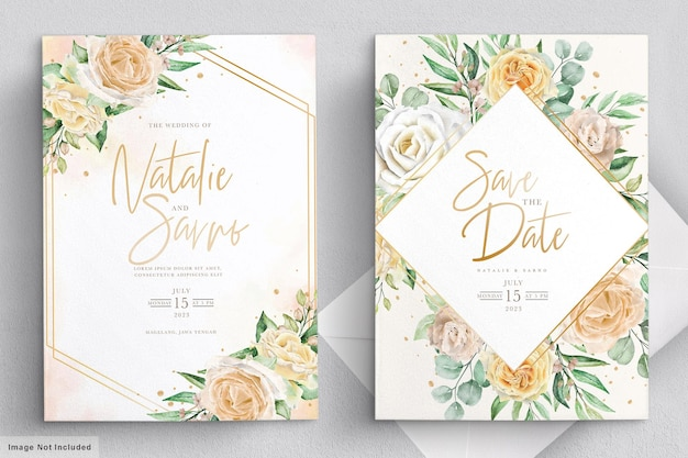 Elegant watercolor hand drawn floral wedding invitation card