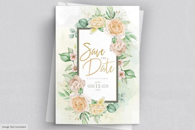Elegant watercolor hand drawn floral wedding invitation card
