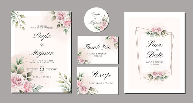 Elegant watercolor hand drawn floral wedding invitation